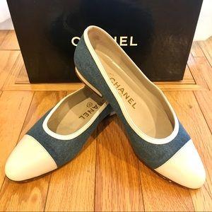 Chanel ballet flats Azzurro denim & white